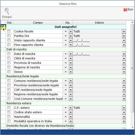 """Anagrafica Ditte: nuova Gestione Filtri - Selezione campi e compilazione campo """"Valore"""""""