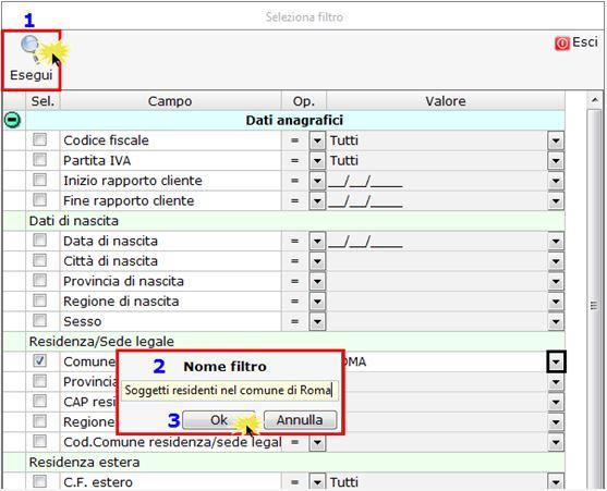 Anagrafica Ditte: nuova Gestione Filtri - Indicazione nome filtro