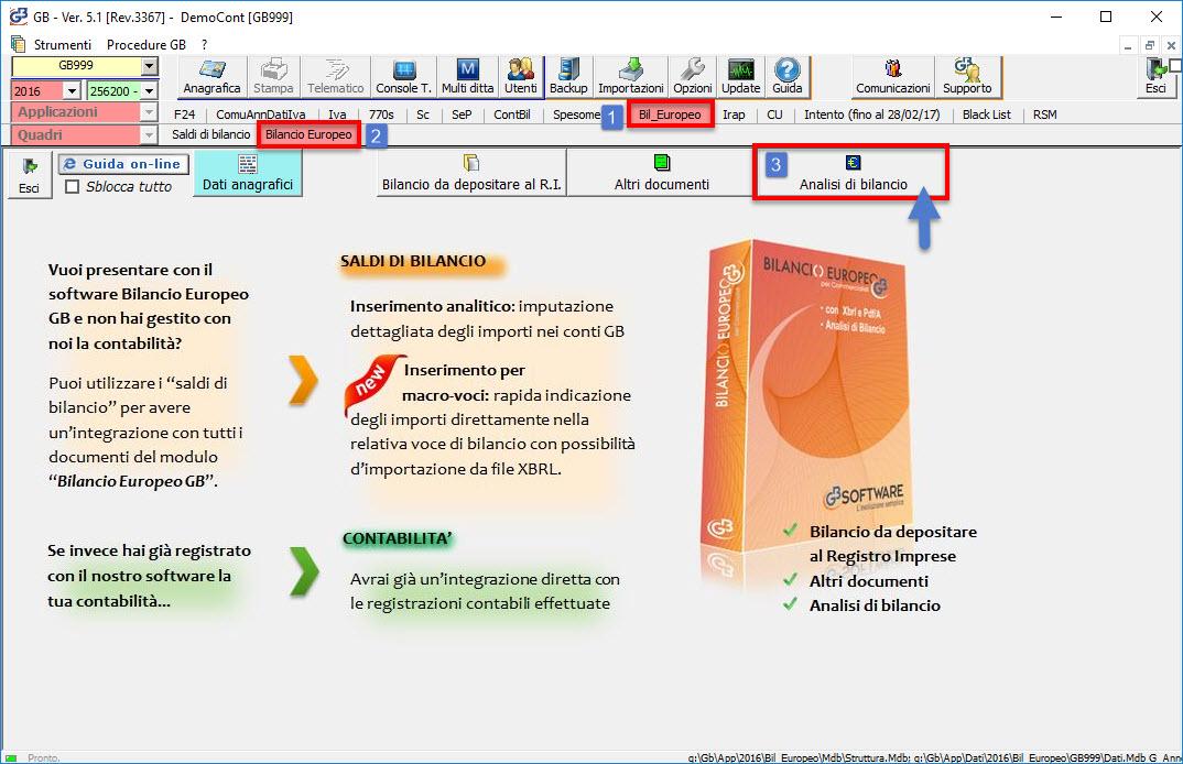 Accesso al modulo Analisi di Bilancio