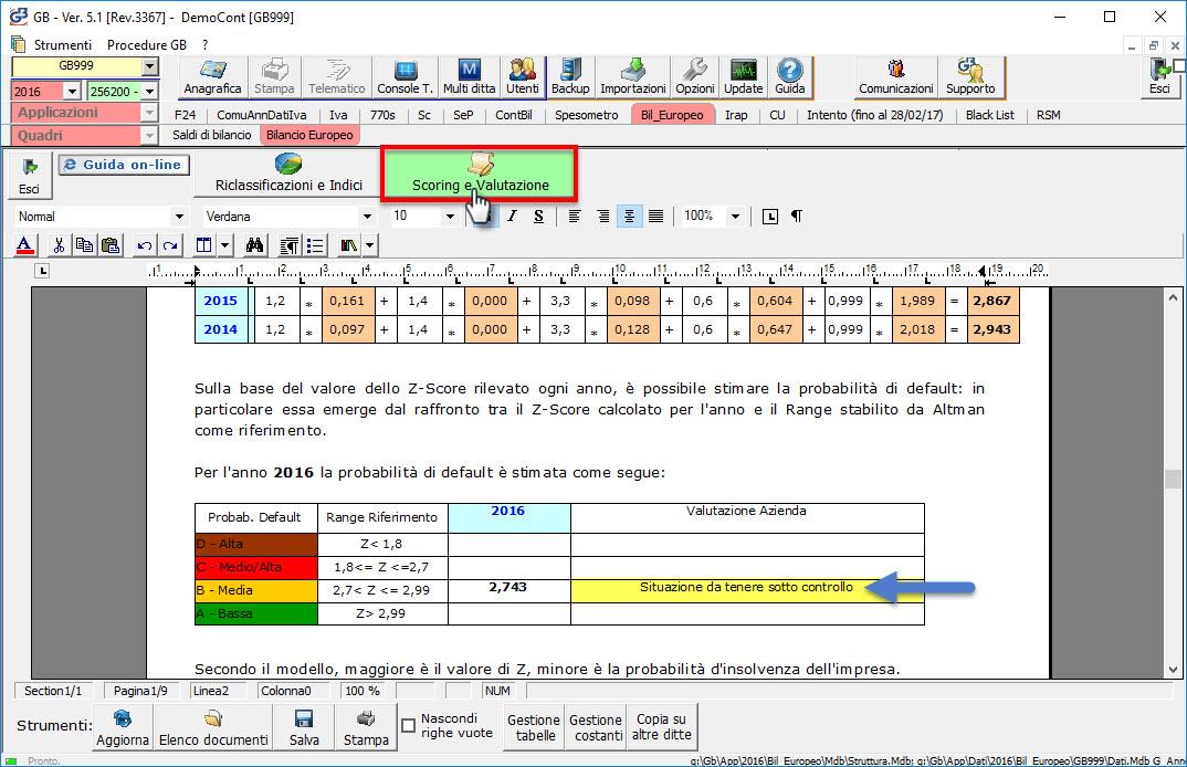 Analisi di Bilancio - Scoring e Valutazione