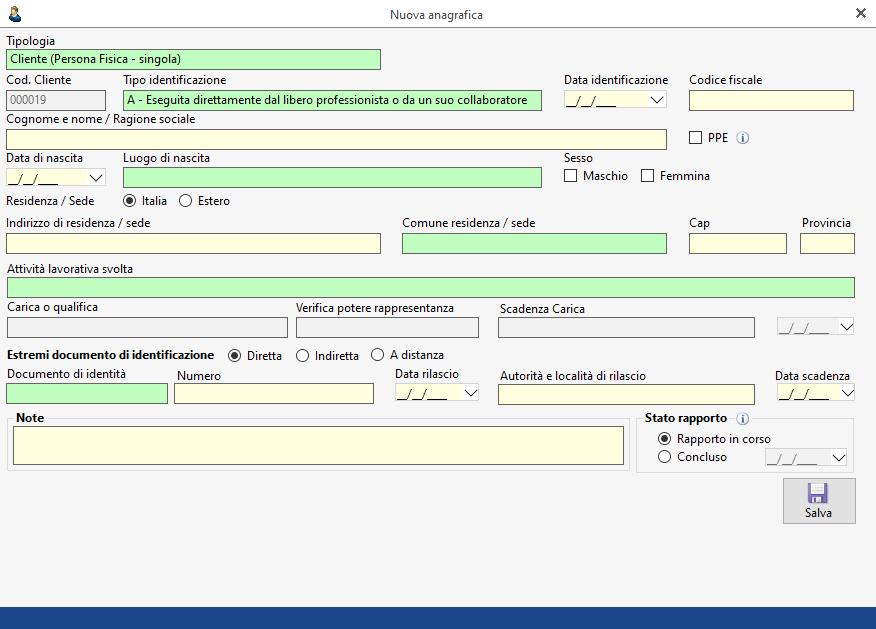 Antiriciclaggio: inserimento dei dati anagrafici - Maschera inserimento dati nuova anagrafica