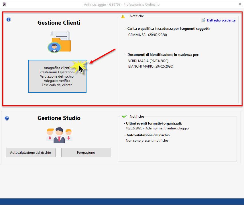 Antiriciclaggio: inserimento dati anagrafici di una società - Sezione gestione clienti