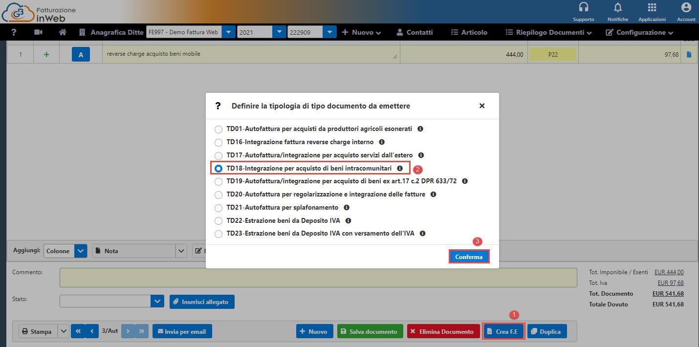 Autofatture/Integrazioni: dal 2021 nuovi tipi documento - Definizione tipologia documento da emettere