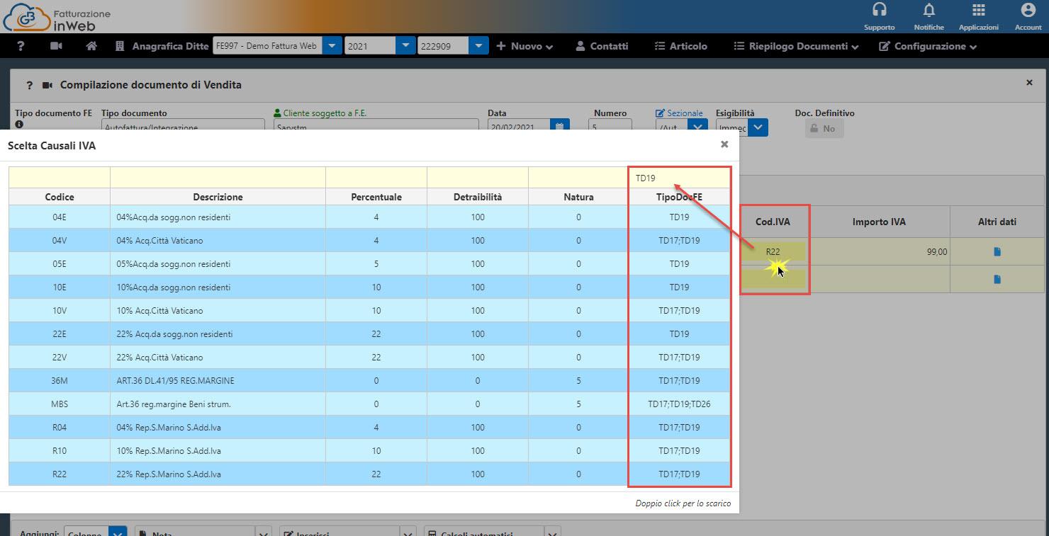 C:\Users\LucaTosti\Gbsoftware S.p.A\Newsletter - General\Newsletter2021\02 Febbraio 2021\Immagini\Nuovi tipi documento autofatture parte 2 - Esempio aliquota da utilizzare