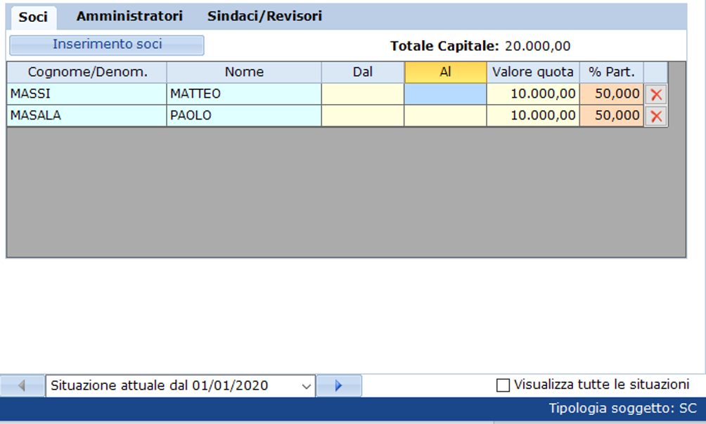Bilancio 2020: tabelle con soggetti integrati all'anagrafica e calcolo quorum - Anagrafica storicizzazione 2020