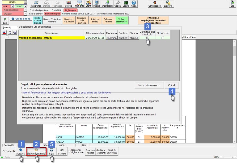 Bilancio 2020: tabelle con soggetti integrati all'anagrafica e calcolo quorum - Verbale assemblea definitivo