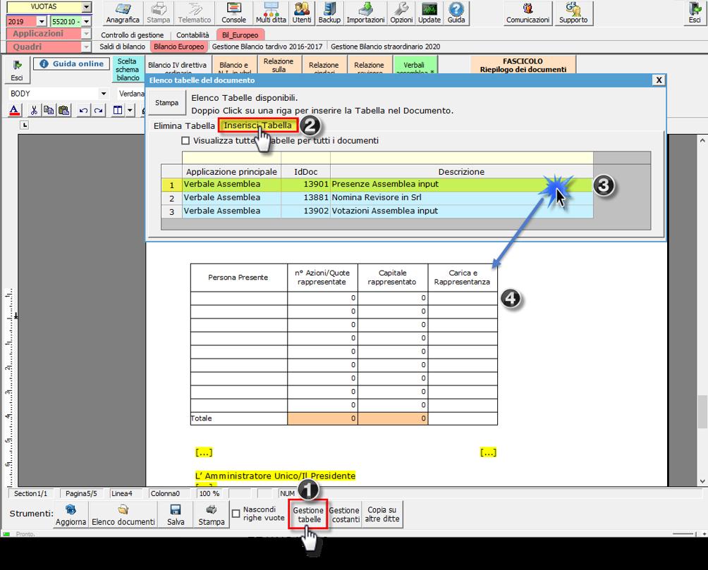 Bilancio 2020: tabelle con soggetti integrati all'anagrafica e calcolo quorum - Grafica tab inserisci tabella