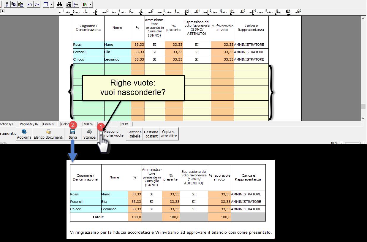 Bilancio 2020: tabelle con soggetti integrati all'anagrafica e calcolo quorum - Schermata nascondere righe vuote