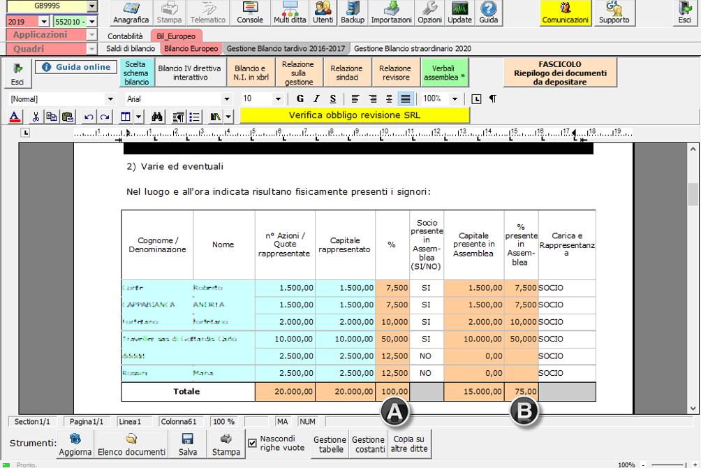 Bilancio 2020: tabelle con soggetti integrati all'anagrafica e calcolo quorum - Tabella verifica soci presenti