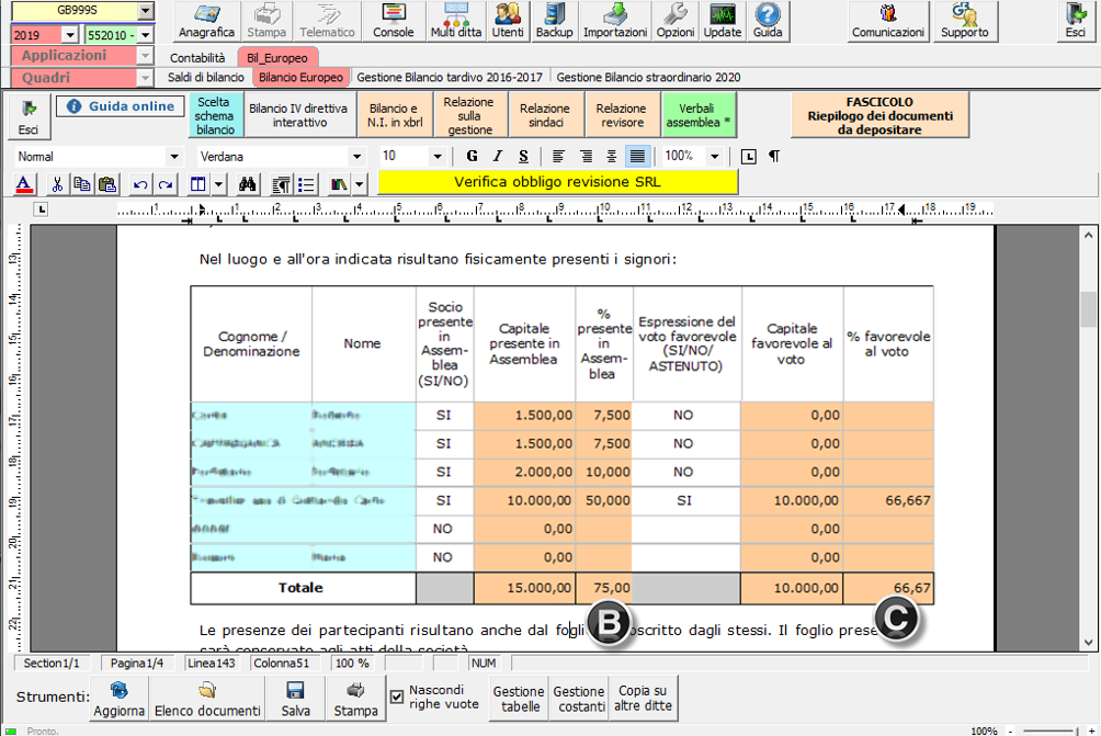 Bilancio 2020: tabelle con soggetti integrati all'anagrafica e calcolo quorum - Tabella verifica del voto