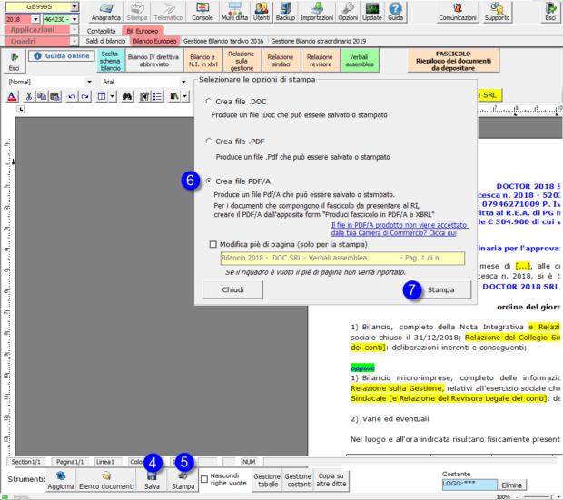 Per la nomina del nuovo organo di controllo, se il Verbale Assemblea è già stato redatto nel corso del 2019, ed è definitivo per fascicolo, si può comunque duplicare il verbale, mediante la funzione - stampa pdf