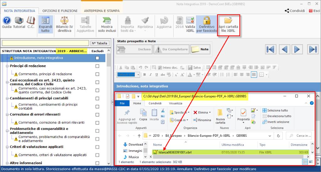 Bilancio: corretto flusso fino alla validazione XBRL - Accesso ad apri cartella File Xbrl