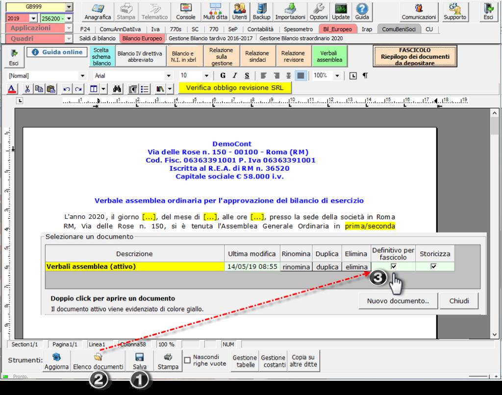 Bilancio: corretto flusso fino alla validazione XBRL - Documento storicizzato