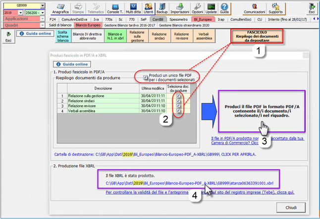 Bilancio: corretto flusso fino alla validazione XBRL - Scelta creazione di uno o più pdf