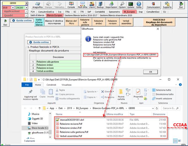 Bilancio: corretto flusso fino alla validazione XBRL - Accesso alla cartella tramite link