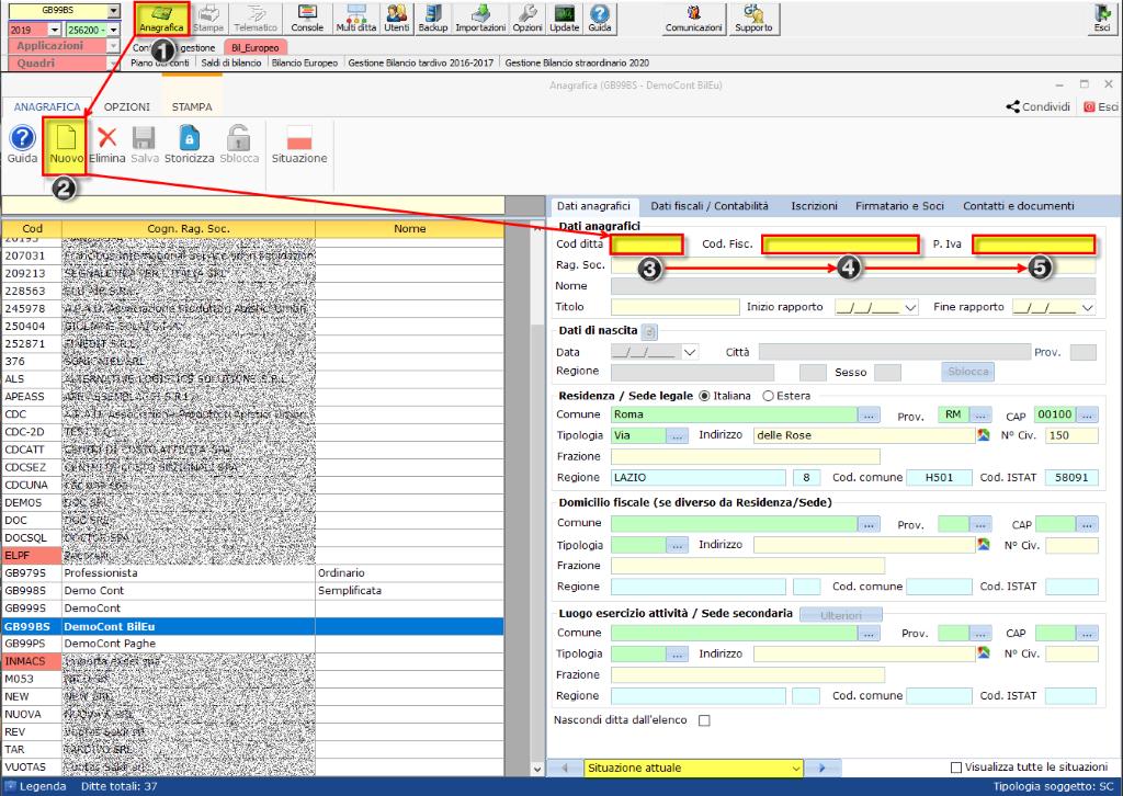 Bilancio: corretto flusso fino alla validazione XBRL - Creazione nuova ditta