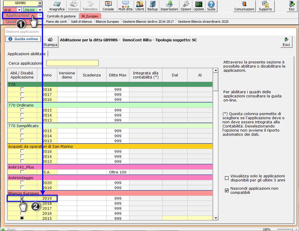 Bilancio: corretto flusso fino alla validazione XBRL - Abilitazione applicazione bilancio europeo