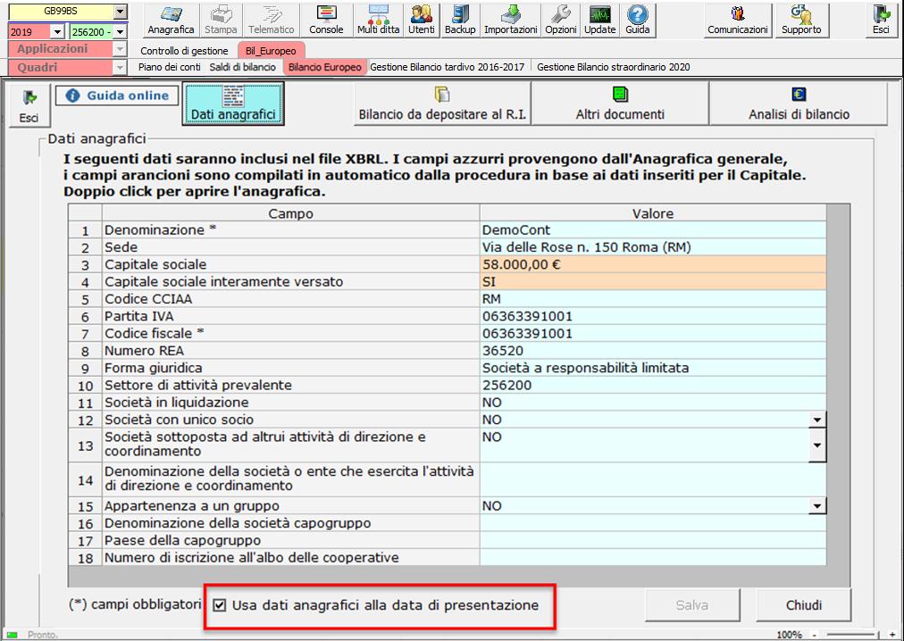 Bilancio: corretto flusso fino alla validazione XBRL - verifica dati anagrafici frontespizio XBRL