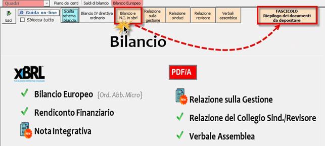 Bilancio: corretto flusso fino alla validazione XBRL - Fascicolo Riepilogo dei documenti da depositare