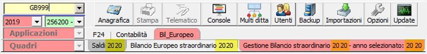Bilancio Straordinario 2020 utilizzando la tassonomia precedente - Schermata ridenomminazione menù bilancio