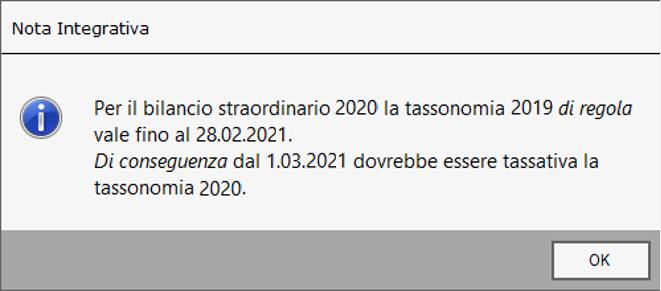 Bilancio Straordinario 2020 utilizzando la tassonomia precedente - Schermata Nota Integrativa