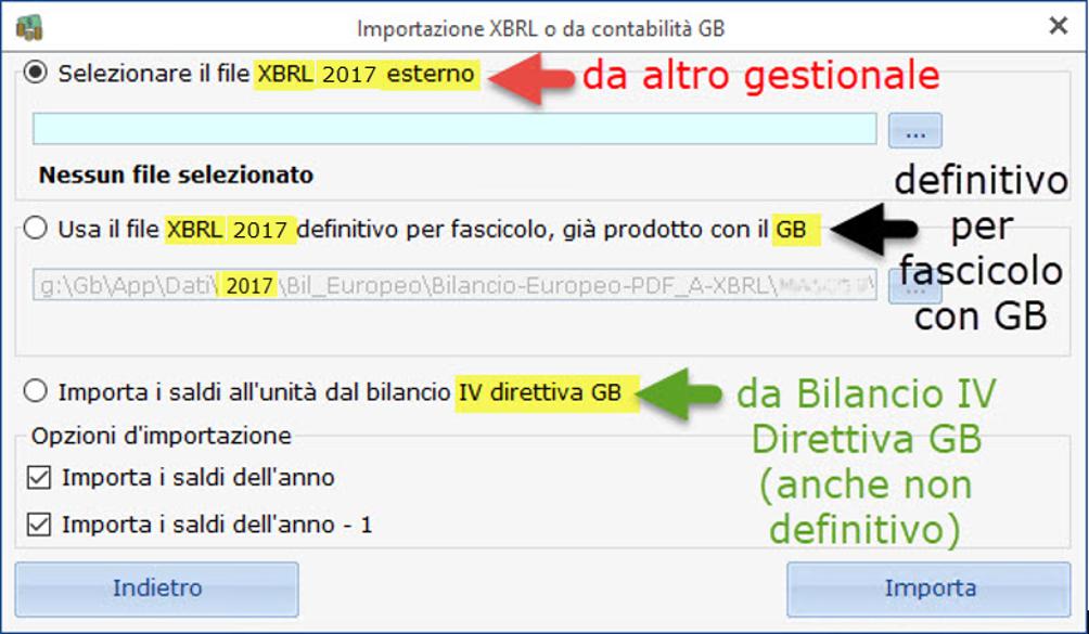Bilancio Tardivo 2016 - 2017 con tassonomia 2019 - Importazione da XBRL
