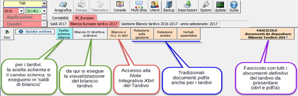Bilancio Tardivo 2016 - 2017 con tassonomia 2019 -  Documenti obbligatori