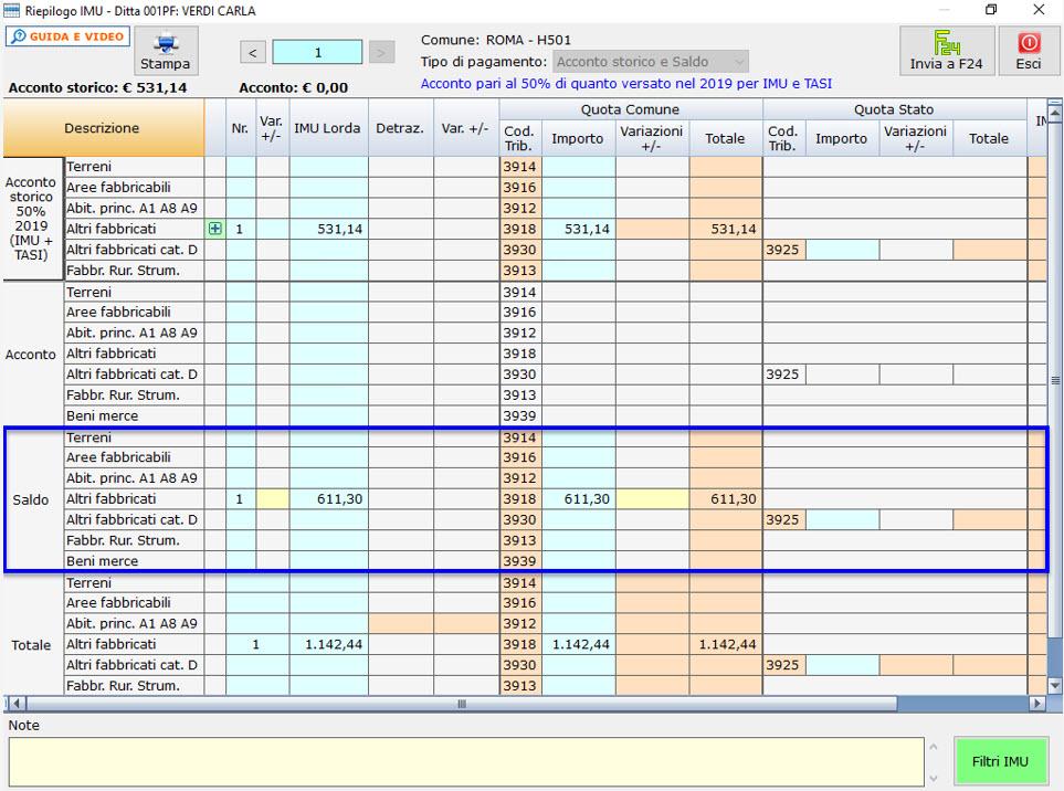 Calcolo saldo IMU 2020: caso pratico - Debito da versare a saldo
