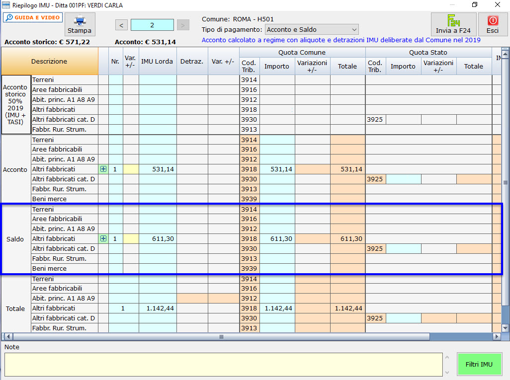 Calcolo saldo IMU 2020: caso pratico - Gestione riepilogo IMU