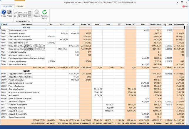 Centri di Profitto e di Costo 2021: rilascio modulo - Report per tutti i centri di profitto e di costo