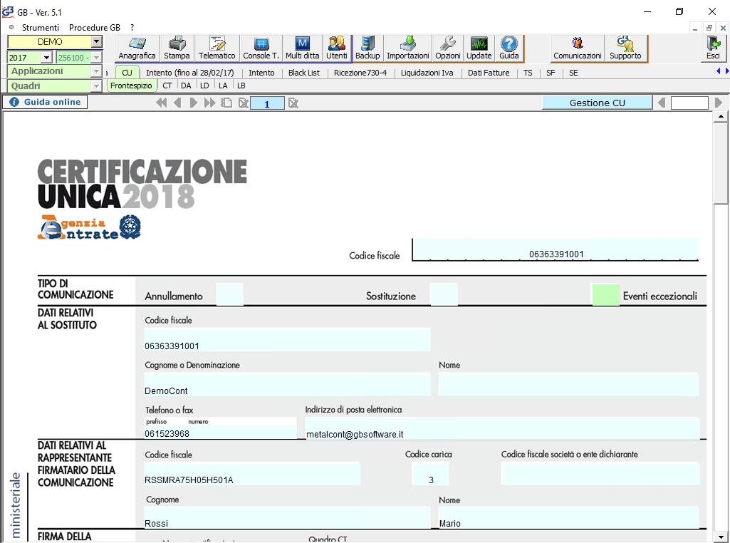 Certificazione Unica nel software Dichiarazioni GB