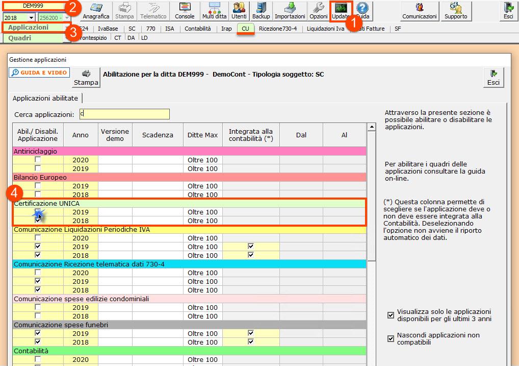 Certificazione Unica 2020: disponibile applicazione - Abilitazione applicazione