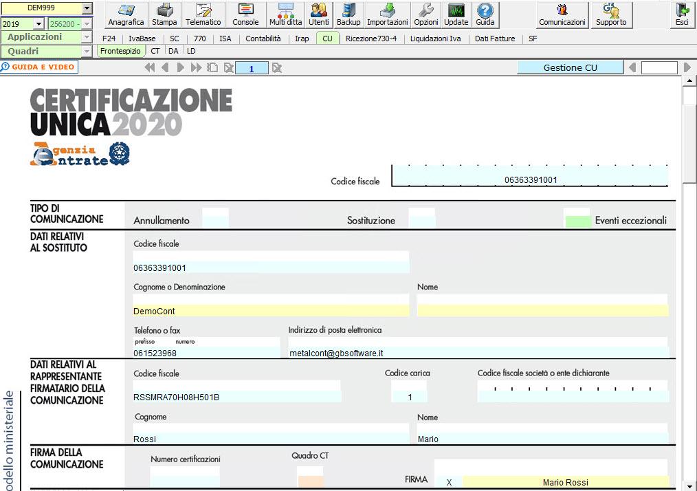 Certificazione Unica 2020: disponibile applicazione - Modello ministeriale CU 2020