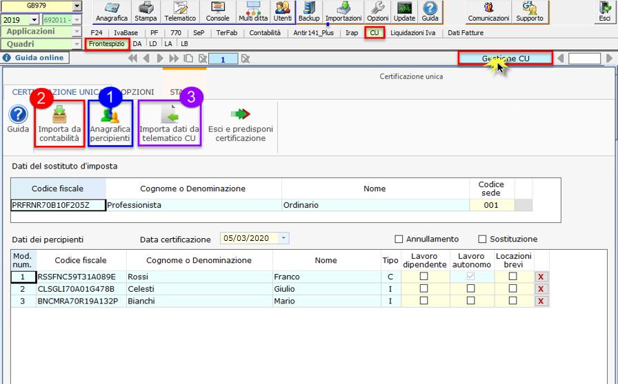 Certificazione Unica 2020: modalità di compilazione - Grafica gestione CU