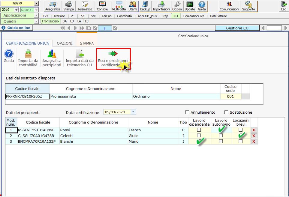 Certificazione Unica 2020: modalità di compilazione - Schermata esci e predisponi applicazione