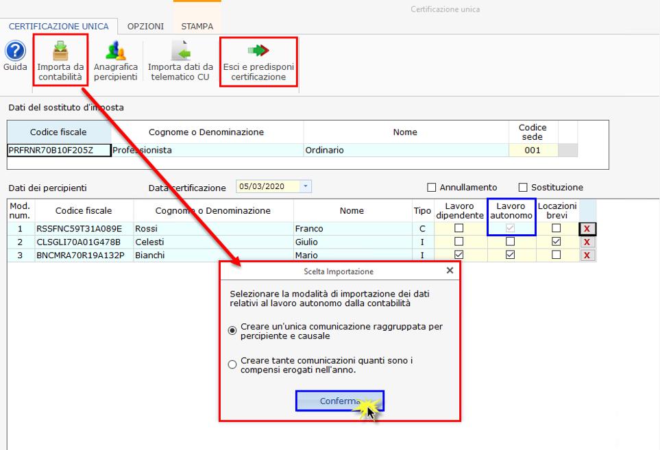 Certificazione Unica 2020: modalità di compilazione - Schermata importa dati da contabilità