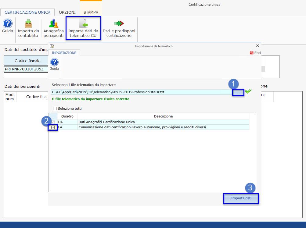 Certificazione Unica 2020: modalità di compilazione - Importazione dati da telematico