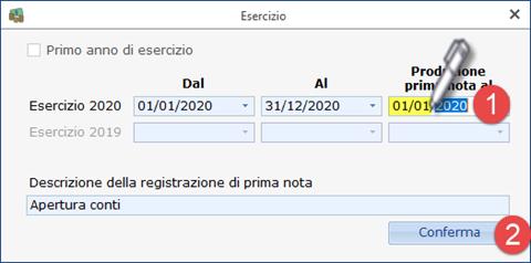 Cessazione attività - ricaricare i saldi da Excel: caso pratico - Impostazione data produzione prima nota