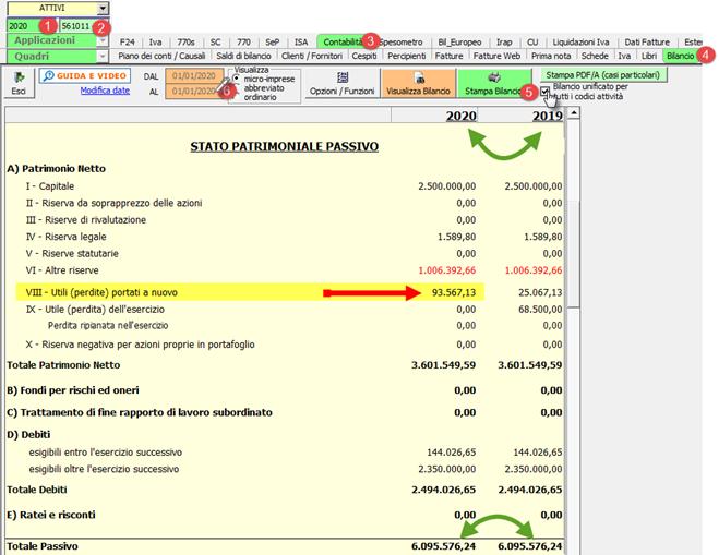 Cessazione attività - ricaricare i saldi da Excel: caso pratico - Utili portati a nuovo