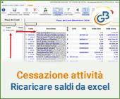 Cessazione attività - ricaricare i saldi da Excel: caso pratico