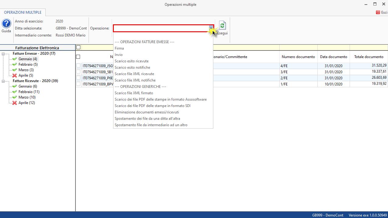 Come effettuare la stampa multipla: caso pratico - Click su Operazioni multiple