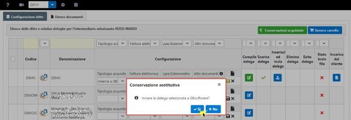 Conservazione Sostitutiva: configurazione e invio delega - Invio a GBsoftware