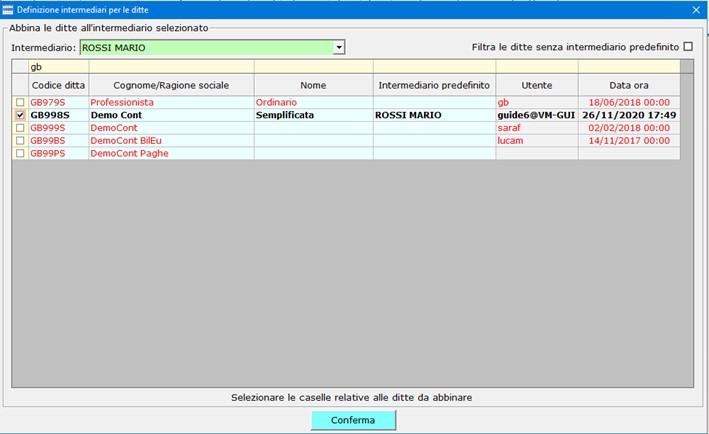 Conservazione Sostitutiva: configurazione e invio delega - Maschera ditte abbinate