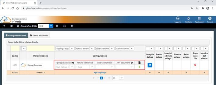Conservazione Sostitutiva: configurazione e invio delega - Compilazione ed invio delega