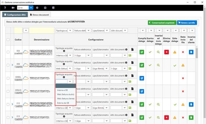 Conservazione Sostitutiva: configurazione e invio delega - Tipologia acquisto
