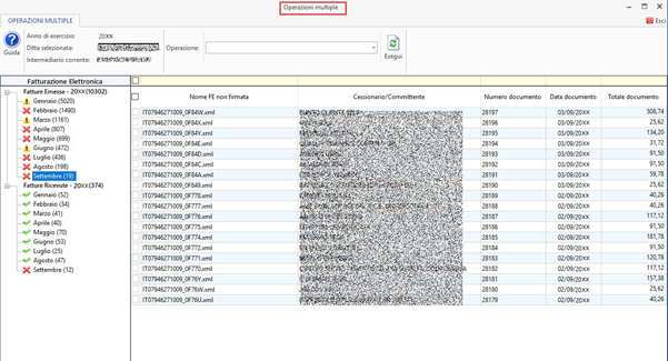 Console Fatturazione: operazioni multiple per firma ed invio - Schermata operazioni multiple