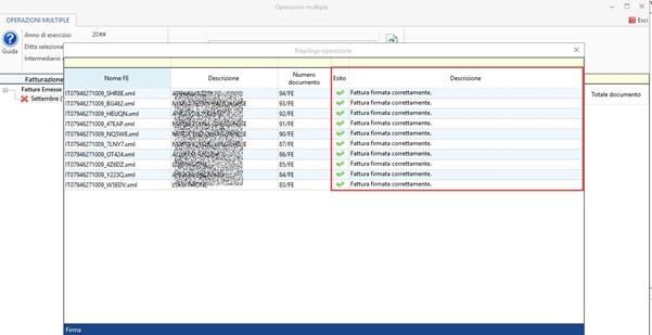 Console Fatturazione: operazioni multiple per firma, invio - Esito delle operazioni selezionate