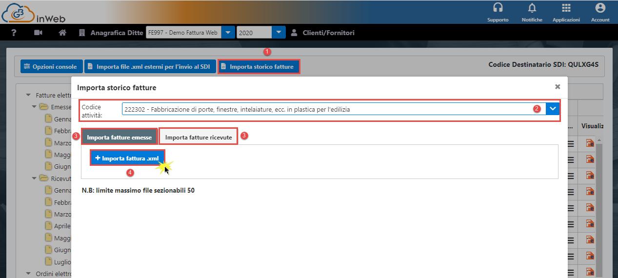 Console inWeb: Importa fatture emesse e ricevute in altri software - Importazione file