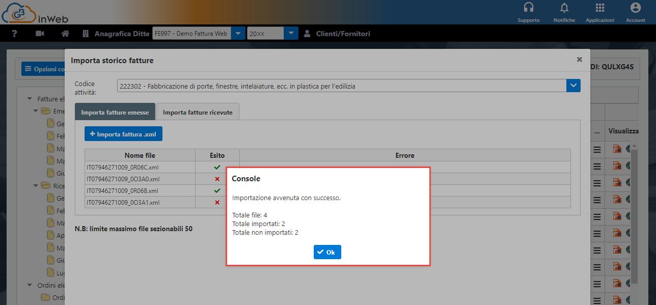 Console inWeb: Importa fatture emesse e ricevute in altri software - Esito importazione tutti i file