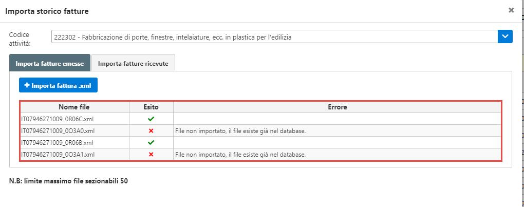 Console inWeb: Importa fatture emesse e ricevute in altri software - Visualizzazione singolo esito importazione